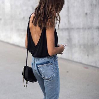 top open back open back top backless backless top denim jeans blue jeans bag black bag sexy sexy top open back bodysuit