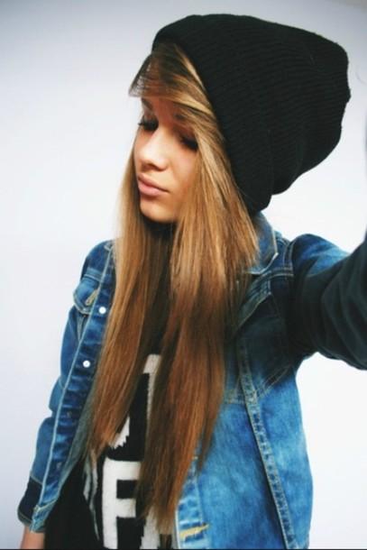 hat black beanie jacket