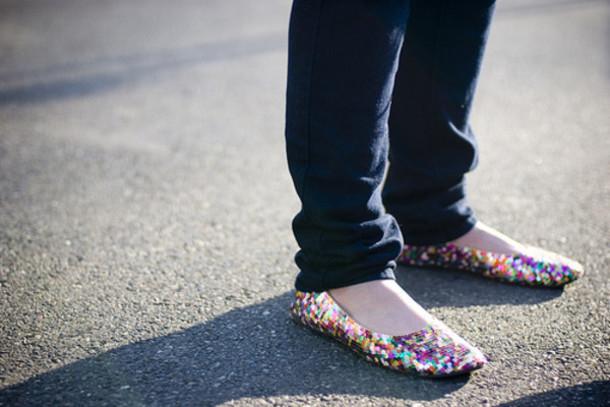 shoes, glitter, flats, colorful