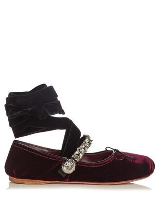 ballet embellished flats ballet flats velvet burgundy shoes