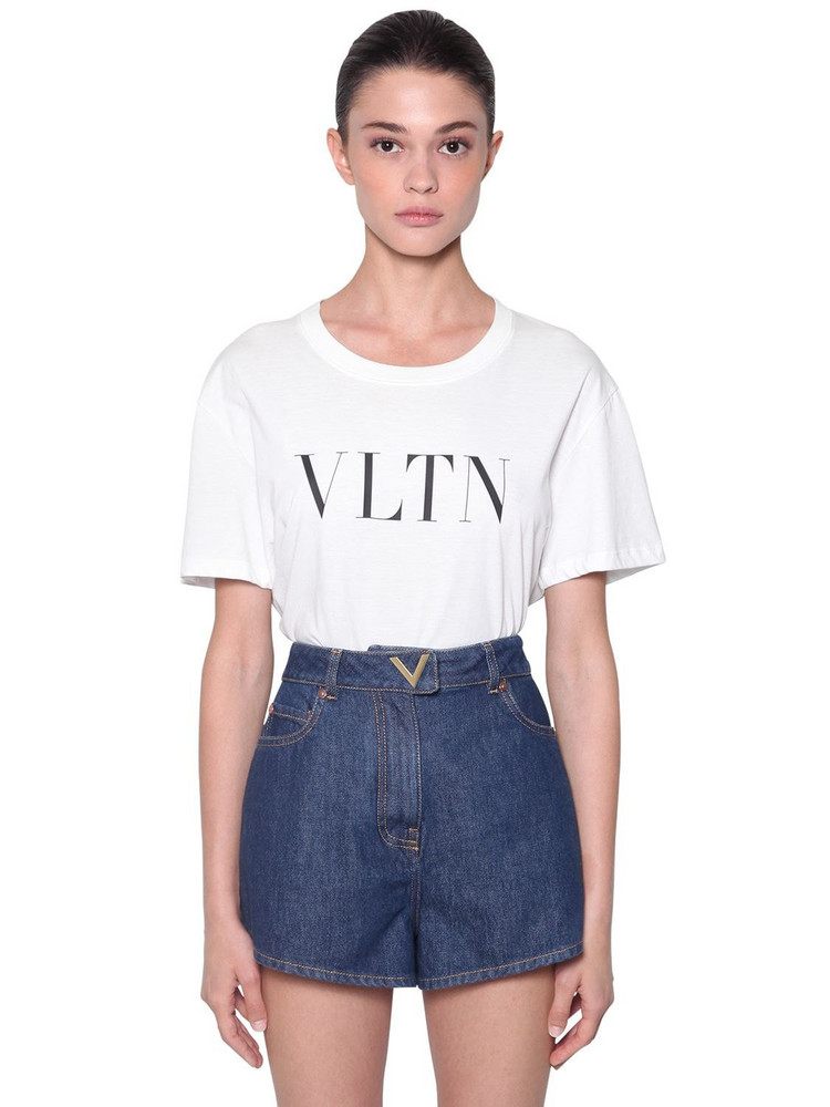 VALENTINO Logo Printed Cotton Jersey T-shirt in white