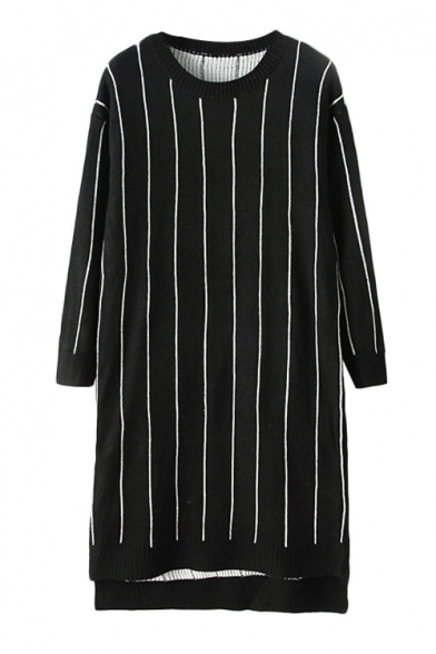 Vertical striped round neck tunic sweater in dip hem