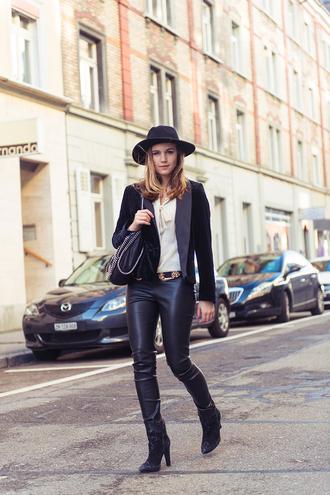 fashion gamble blogger blouse hat leather pants blazer