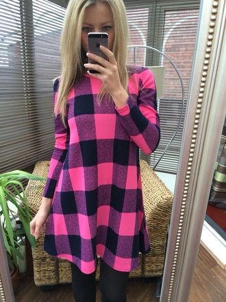 dress tartan pink check casual dress swing dress skater dress tartan dress cute long sleeves