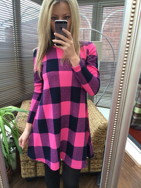 dress tartan pink check casual dress swing dress skater dress tartan dress cute long sleeves