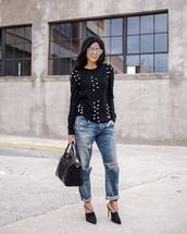 top,tumblr,black top,embellished top,embellished,denim,jeans,blue jeans,ripped jeans,cuffed jeans,bag,black bag,shoes,black shoes,mules,high heels,heels,black heels,sunglasses,mirrored sunglasses,winter date night outfit