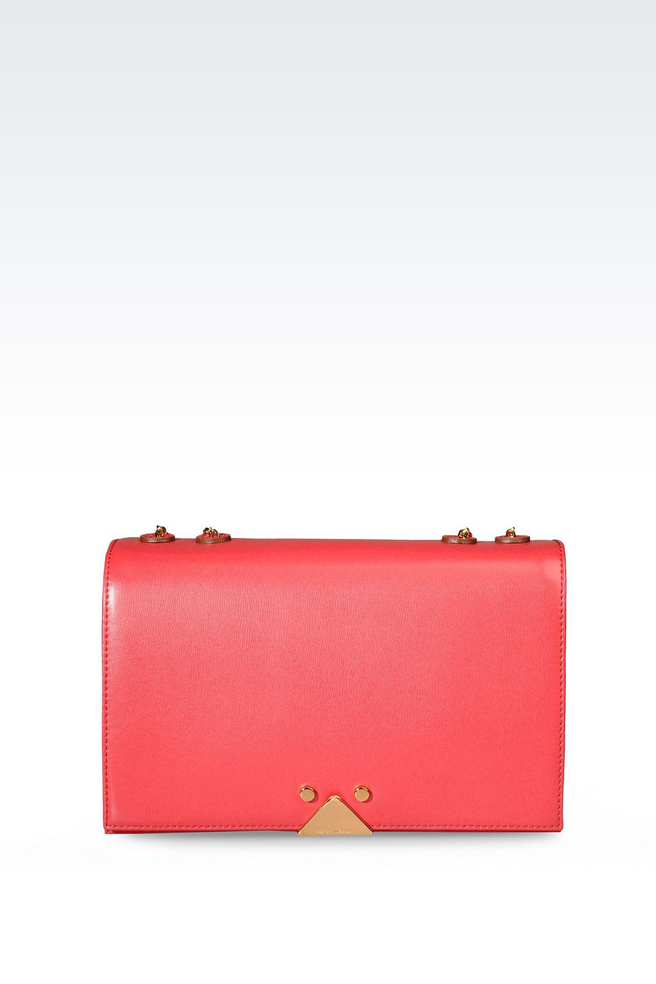 Emporio Armani Women Shoulder Bag - LEATHER BAG WITH CHAIN SHOULDER STRAP Emporio Armani Official Online Store