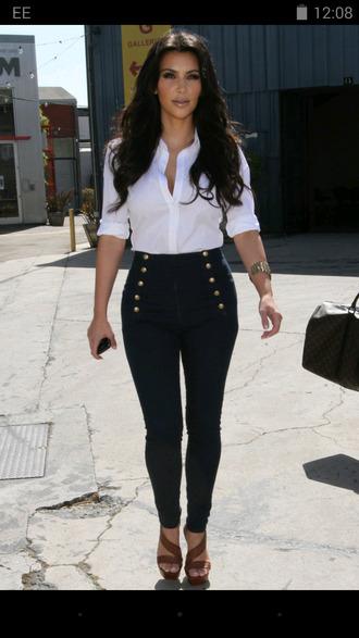 pants kim kardashian black pants white white blouse kardashians style blouse
