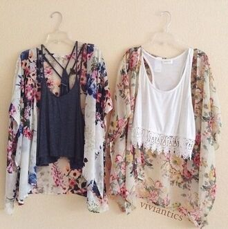 top floral sweater summer throwover crop tops white black grey lace hipster straps indie tank top cardigan colorful flowers girl styl blouse