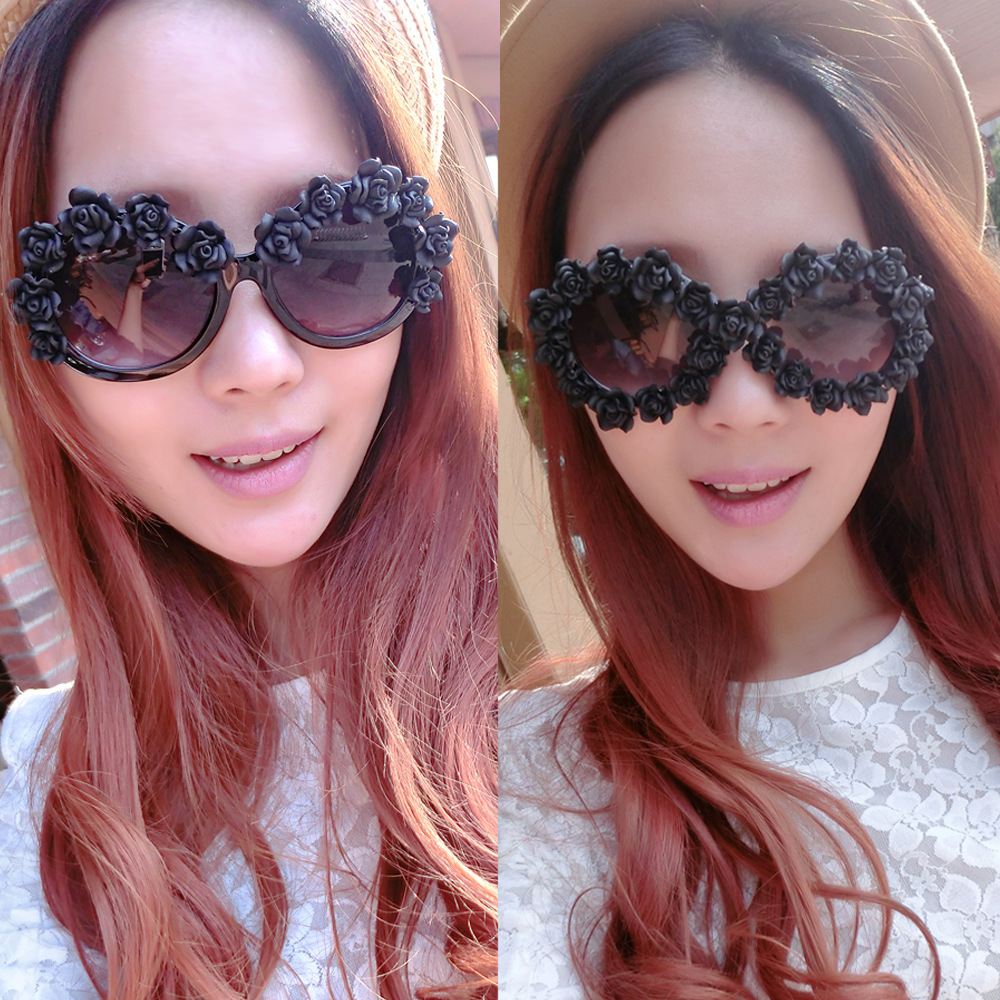 Hot Sale 2014 New Summer Sunglasses Delicate Stereo Rose Flower Fashion Glasses Elegant Ladies Beach Sun Glasses Women-in Sunglasses from Apparel & Accessories on Aliexpress.com