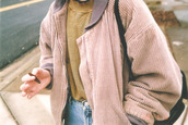 jacket,tumblr,tumblr outfit,pastel,pink,jeans,blunt,coat,cardigan,winter coat,soft grunge,fall outfits,pink jacket,baby pink jacket,pastel pink,mauve,cuorduroy,light pink corduroy,vintage jacket,bomber jacket,oversized jacket