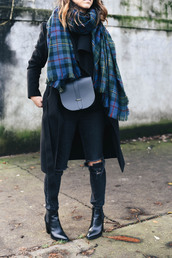 crystalin marie,blogger,jacket,sweater,jeans,shoes,scarf,bag,tartan scarf,crossbody bag,winter outfits,boots