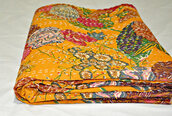 home accessory,bedding,blanket,quilts,handmade blanket,throws,yellow kantha quilt,quilted throw,vintage quilts,handmade quilt,quilt
