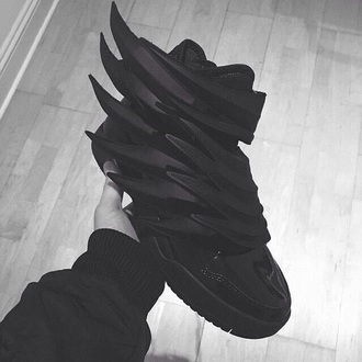 sneakers mens shoes black blvck swag street menswear tennis shoes adidas wings adidas shoes shoes tennis style retro jordans sharp glosy black adidas blackadidaswingshoes retro urban reebok airjordan jeremy scott jeremy scott wings wings all black want omg!!! something idk just want them