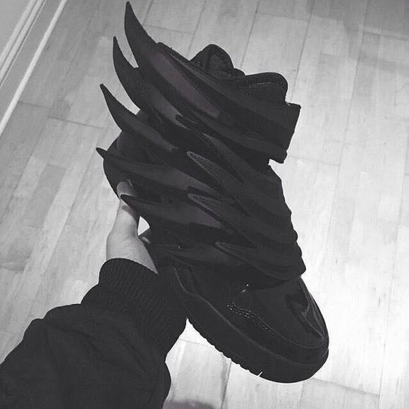 shoes sneakers black adidas wings adidas shoes mens shoes ninja goth swag street menswear tennis shoes