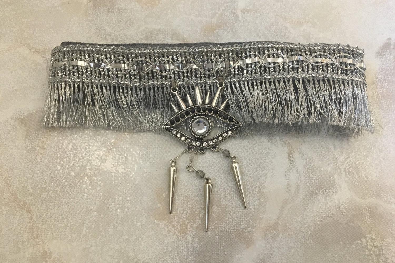 Silver Choker Necklace Medusa - Silver Evil Eye Pendant, Silver Charm Necklace, Silver Fringe Necklace, Statement Choker Necklace, Boho