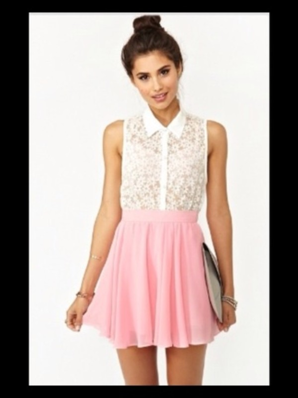 dress pink skirt white flower top