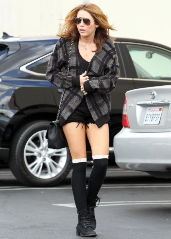 cardigan miley cyrus miley cyrus blouse shorts socks boots bag chanel sunglasses shoes