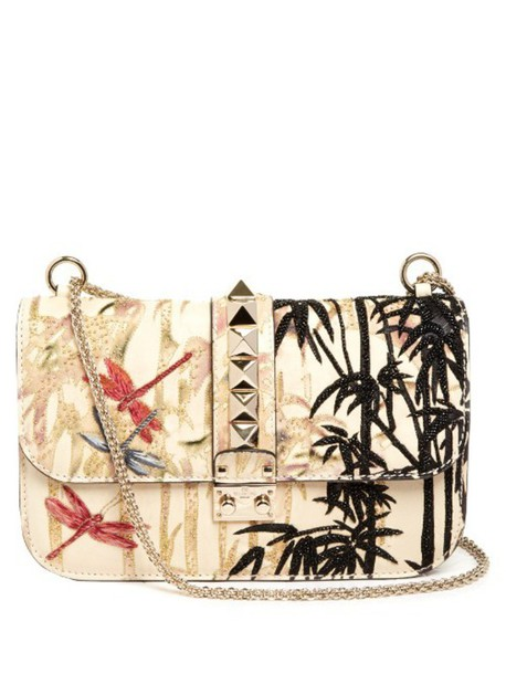 VALENTINO Lock small embroidered leather shoulder bag in multi