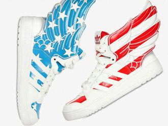 shoes js jeremy scott adidas america wings stars