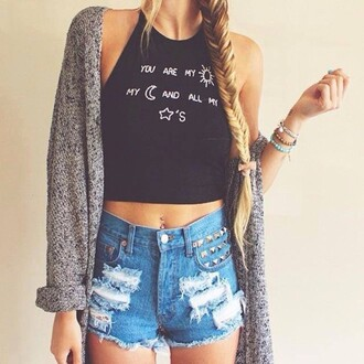 cardigan black grey jeans shorts blue cropped halter neck cropped halter top tumblr pants gray cardigan