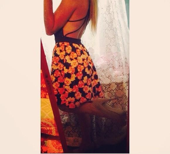floral dress colorful Open back dress
