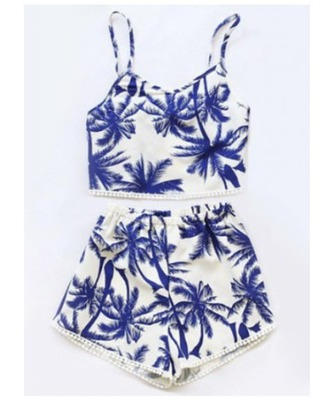 swimwear palm tree print two-piece tankini swimwear printed