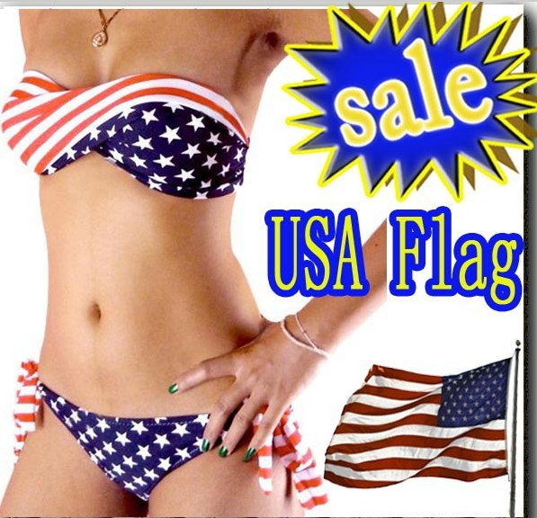 ON SALE swimsuit swimwear Women Sexy bikini STARS STRIPES USA Flag PADDED TWISTED BANDEAU swim suit tube swim wear   #8002-in Bikinis Set from Apparel & Accessories on Aliexpress.com