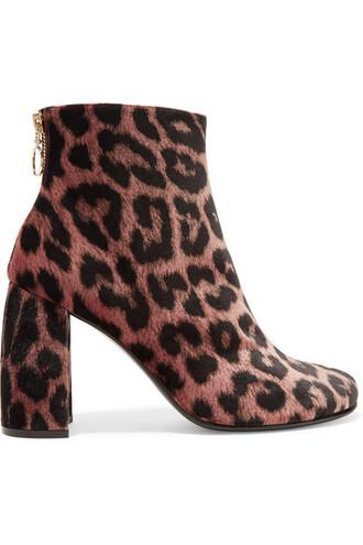 boots ankle boots print velvet leopard print shoes