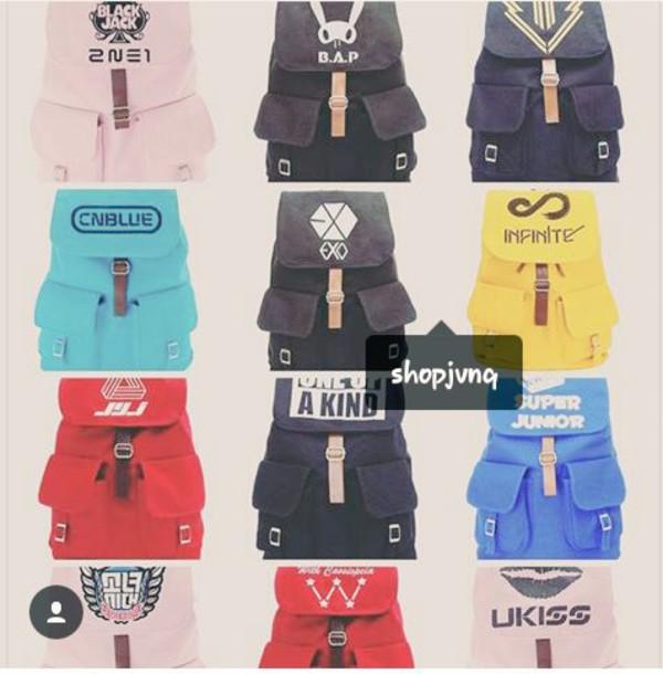 bag backpack K-pop kpop kpop bag k-pop bag 2ne1 b.a.p big bang exo cnblue infinite super junior ukiss tvxq jyj
