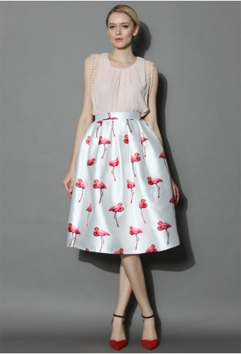 Flamingos Pleated A-line Skirt - Retro, Indie and Unique Fashion