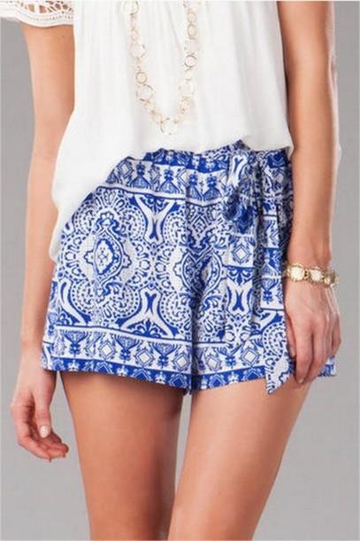 Shorts: clothes, blue, greek, white, print, pattern, holidays ...