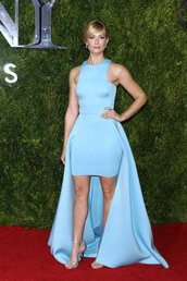 dress,gown,blue,red carpet,high-low dresses,prom dress,beth behrs,tony awards