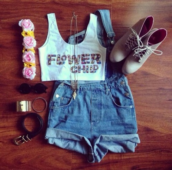 overalls denim tank top flower child flowers crown