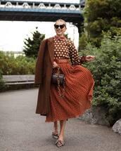 skirt,midi skirt,polka dots,mules,handbag,coat,blouse,heart sunglasses