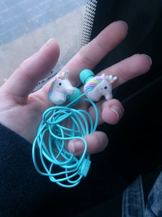 phone cover earphones unicorn unicornz headphones earbuds blue