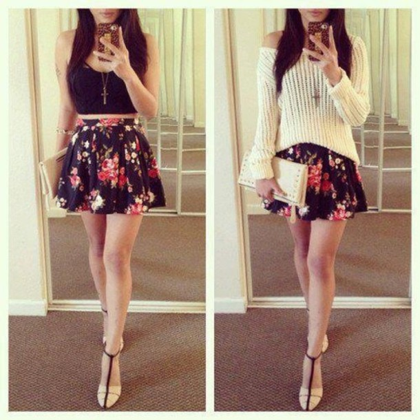 dress skirt floral mini skirt cute summer high waisted sweater shirt white comfy knitted sweater cozy rose floral skirt black crop top pink cute dress pretty blouse hkfh jewels tank top shoes strappy sandals floral floral skirt flowers black top flower shirt flower skirt light cute skirt short skirt
