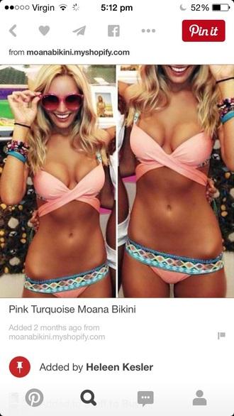 swimwear bikini pink gold sparkle bikini top