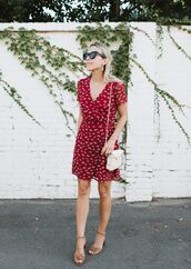 dress,tumblr,mini dress,red dress,wrap dress,bag,white bag,sandals,mid heel sandals,shoes