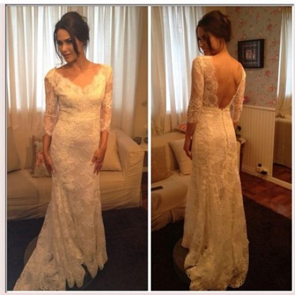 Wholesale Sheath Wedding Dresses - Buy Vintage White Lace 3/4 Long Sleeve Wedding Dresses Sheer V Neck Backless Applique Sweep Train Sheath Wedding Bridal Gowns Cheap Custom Made, $143.46 | DHgate