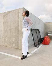 shoes,black sandals,unisex,white pants,shirt,platform shoes