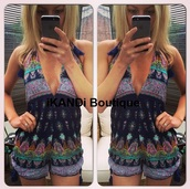 romper,ikandi boutique,aztec playsuit,tassel,pom pom shorts,shorts,plunge v neck,v neck,v neck dress,summer,summer dress,holiday dress,cute,fashion,outfit,style,trendy,navy,backless,cut-out