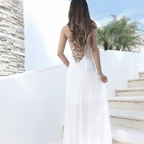 dress backless white dress formal