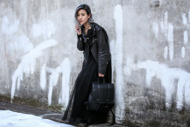 feral creature blogger tulle dress leather jacket all black everything