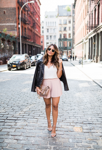 hauteofftherack blogger jeans tank top belt shoes sunglasses jacket sandals high heel sandals leather jacket fall outfits