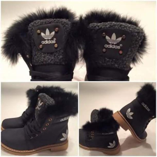 shoes adidas black fur boots black boots adidas. Black Bedroom Furniture Sets. Home Design Ideas
