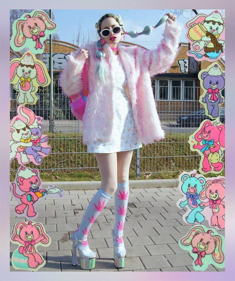 pastel shoes kawaii socks fluo weed platform high heels fur coat