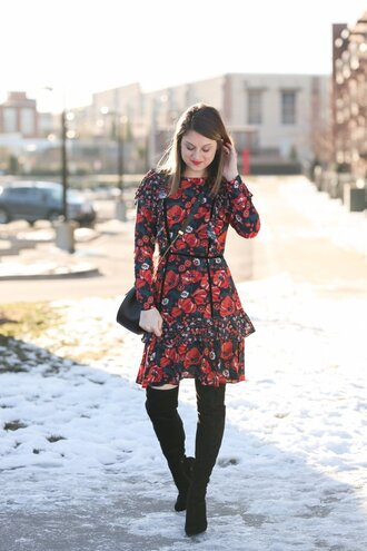 polishedclosets blogger dress shoes bag jewels make-up floral dress shoulder bag boots over the knee boots winter outfits