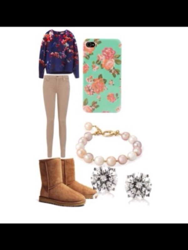 sweater floral sweater iphone case flowers ugg boots ugg boots