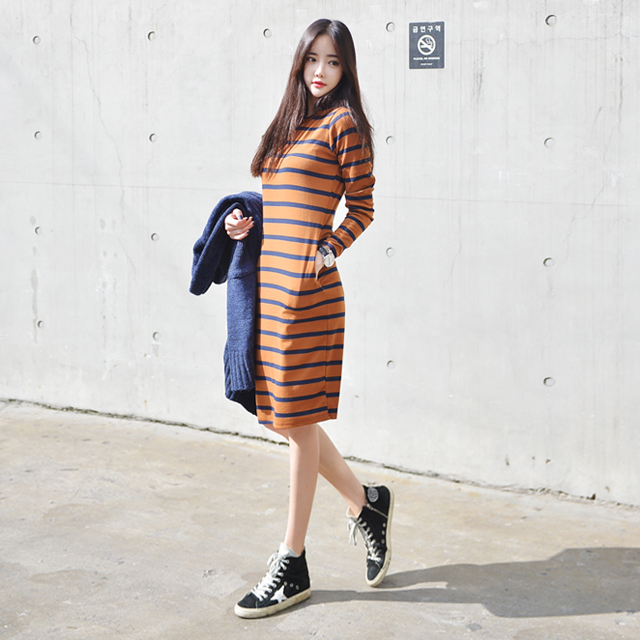 Brown And Blue Stripes Long Casual Shirt Dress Korean Fashion Shop Online Store Powered By